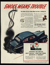 1941 TEXACO & HALVOLINE Oil - Smoke Means Trouble Art - Car Smoking - VINTAGE AD