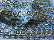 LONG LENGTH VINTAGE FRENCH  SILKY ICE BLUE & PALE GOLD PASSEMENTERIE TRIM 33FT!
