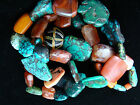 ANCIENT- ANTIQUE TIBETIAN TURQUOISE w MUNDIGAK AFGHAN BANDED AGATE BEAD NECKLACE