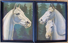 "2 Horse Head Paint by Number Wood Framed Pictures Mid Century Vintage 11"" x 9"""