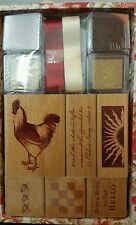 UNOPENED ROOSTER SUNRISE RUBBER STAMP FANCY BOX SET 2003 ANNA GRIFFIN for PLAID