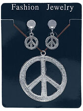 Hippy Hippie Silver Medallion And Clip-On Earrings 1970s Fancy Dress Accessory