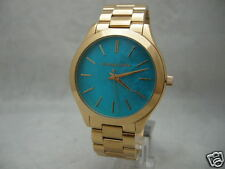 Authentic Michael Kors MK3492 Aquamarine MOP Dial Slim Runway Women's Watch