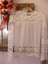 Beautiful WHITE Battenburg Style LACE Pullover Long Sleeve Blouse Top Size XS