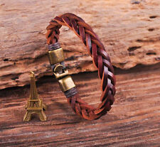 S509 Vintage Classic Genuine Leather Braided Bracelet Wristband Men's Cuff B