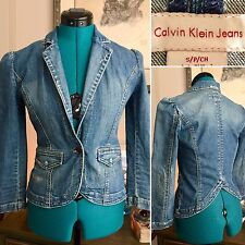 Calvin Klein Jeans Cropped DENIM Blazer JACKET Slim Fit STRETCH One-Button Sz S