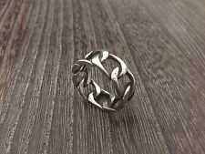 STERLING SILVER VINTAGE 1970'S MENS CHAIN LINK RING SZ.11