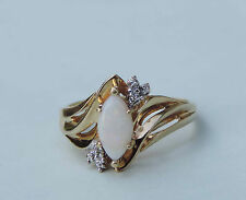 Ladies Marquise Opal Solitaire Ring w/ 2 Accent Diamonds - 10K Yellow Gold