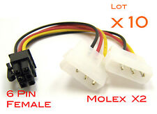 Lot 10 Cables alimentation graphic card Molex 4 Pin to 6 pin PCI-E adapter Power