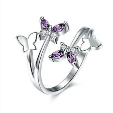 Women Platinum Plated Zircon Butterfly Band Silver Open Adjustable Ring Jewelry