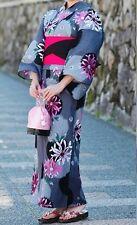 Japanese Women's Traditional YUKATA KIMONO Obi Sandal Set JAPAN 13 Black A-b