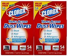 CLOROX Triple Action Dust Wipes 54 Count Box (Pack of 2) NEW IN BOX - 108 ct
