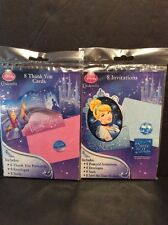 Disney Princess Cinderella Party Lot Invitation & Thank You Set 8 Stickers Seals