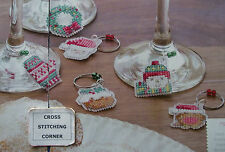 WORKS LIKE A CHARM FUN CHRISTMAS WINE GLASS CHARMS CROSS STITCH CHART