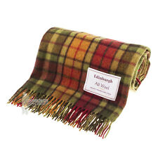 EDINBURGH - PURE WOOL SCOTTISH TARTAN RUG / BLANKET / THROW - BUCHANAN AUTUMN