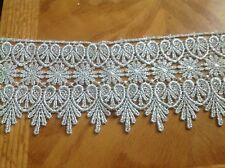 NEW 3 3/4 INCH SILVER METALIC MEDALLION LACE FABRIC TRIM, J's Button Hole