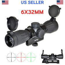 Sniper 6X32 Tac Rifle Scope with Carry Handle, 2 Mounts, Red/Green Mil-Dot +Caps