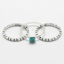 Barse Jewelry Silver Plated and Turquoise Triple Stack Ring Size 8
