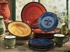 Hand Painted Dinnerware set Tuscany Dishes Unique Plates Colorful 16 pc Bowls