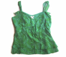 Womens Anthropologie Odille Sleeveless Top Size 2 Green Floral Summer 100% Silk
