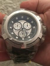 Invicta Reserve Bolt Zeus Chrono. S.S. Silver Dial Black Poly. Watch #21814 NIB