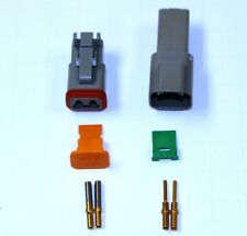 Deutsch DT 2 Pin Gray Connector Kit 16-20 ga.  (Gold Contacts)