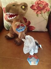 OFFICIAL JURASSIC WORLD/PARK BROWN T-REX & TRICERATOPS  PLUSH DINOSAUR BUNDLE