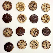 50 Pcs Carving Retro 2-holes Mixed Round Wooden Buttons Buttons DIY Decoration