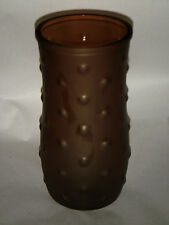 "VINTAGE 8.50"" AMBER HOBNAIL HOOSIER GLASS VASE SMOOTH 10592-06 DOTS LIP EDGE"