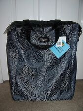 $120~NWT~KATHY VAN ZEELAND Black Tiger 20 Inch Wheeled Shopper/ Carry-On BAG~NEW