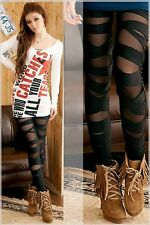 Leggings grietas Cross góticos destroyed-Look vomite medias punk 34 - 38