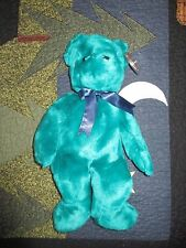Retired TY OLD FACE TEAL TEDDY  BEANIE BUDDY - PERFECT CONDITION!