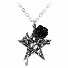 Alchemy Gothic Pewter Ruah Vered Black Rose Pentagram Star Pendant Necklace P715