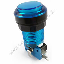 28mm Round 5v LED T10 Bulb Arcade Button & Microswitch (Blue) - MAME, JAMMA