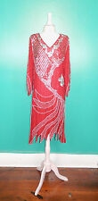 VINTAGE 70'S 80'S RED SILK FLAPPER SEQUIN BEADED COCKTAIL DRESS M