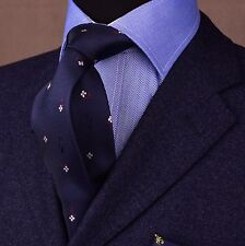 Midnight Blue With Artistic Design Rosy Handmade Skinny Tie Boss Fashion