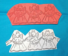 Cat angels rubber stamp border Birthdays blessing to you banner  cute unmounted