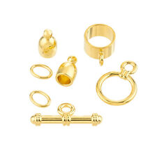 Bullet Shaped Kumihimo Findings Set (4mm) - Gold Plate (K26/5)