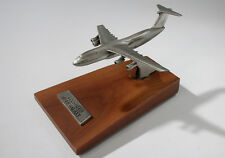 Vintage Lockheed C-5B Galaxy Jet Airplane Pewter Desk Model Walnut Wood Base