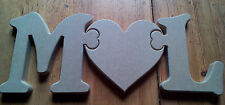 18mm Thick MDF wooden Standing jigsaw letters and heart craft blank , plaque