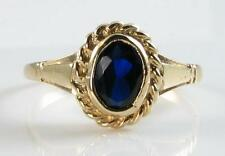 9k GOLD VINTAGE INSP 7mm x 5mm OVAL BLUE SAPPHIRE SOLITAIRE RING  FREE RESIZE