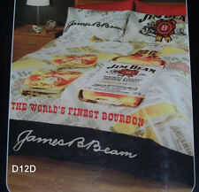 Jim Beam White Label Bottle Single Bed Printed Quilt Cover Set New