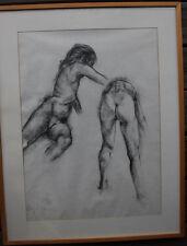 Lot ensemble de 2 dessins fusain étude nu drawing monogrammé daté 1993 inconnu