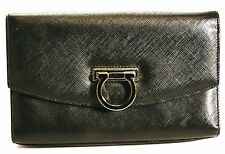 SALVATORE FERRAGAMO Black Saffiano Leather Mini Crossbody Bag