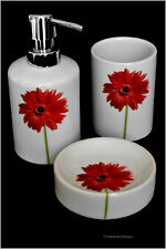 3 Piece Porcelain Red Flower Daisy Bathroom Accessory Set with Soap/Lotion Pump