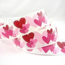 """7/8""""22mm White Pink Heart Cartoon Grosgrain Ribbon Craft 5 Yards Sewing Bow"""