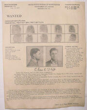 Pretty Boy Floyd Wanted Poster w/prints, Gangster, Outlaw, Bank Robber