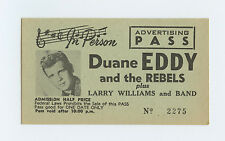 Duane Eddy and The Rebels 1958 West Coast tour Pass Unused Ticket
