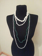lot of 4 shells stone Necklaces green off white