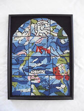 Vintage Completed Needlepoint Church Window Birds Framed Canvas Tapestry